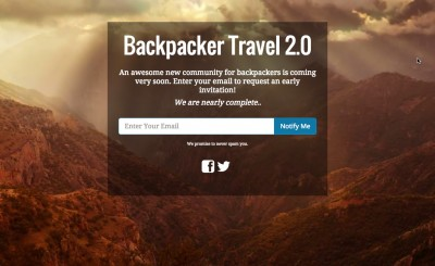 Backpacker Trave Coming Soon Page