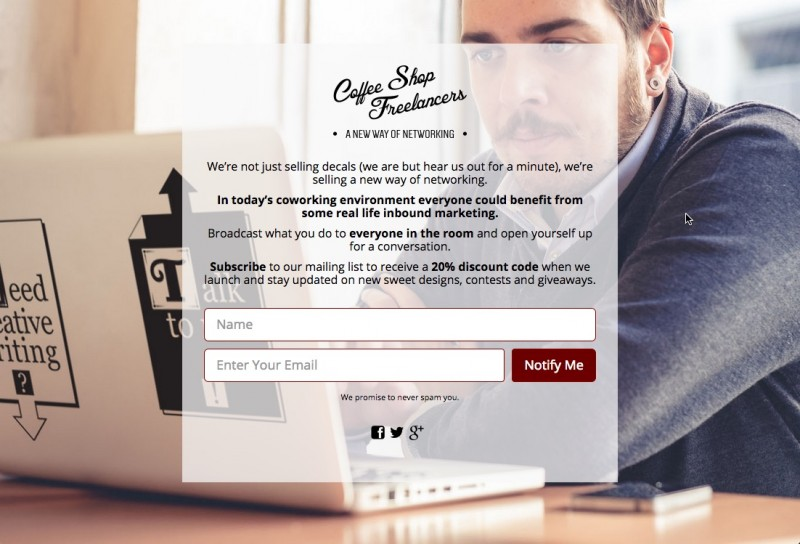 Coffee Shop Freelancers Coming Soon Page