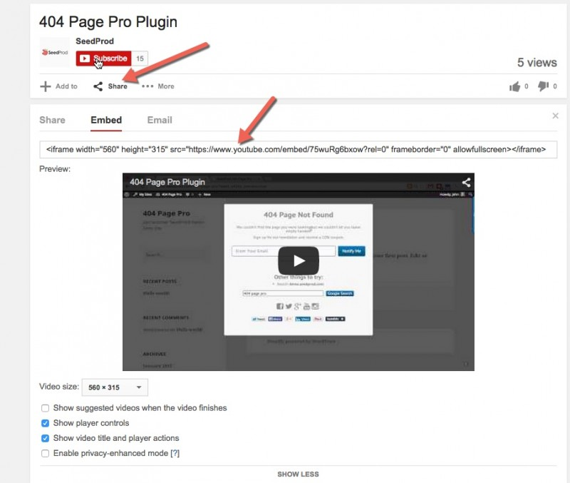 Manually embedding a YouTube Video in WordPress