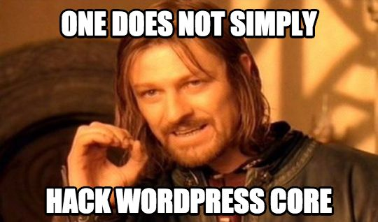 WordPress core hack meme