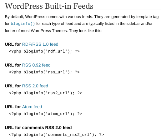 WordPress built-in feeds