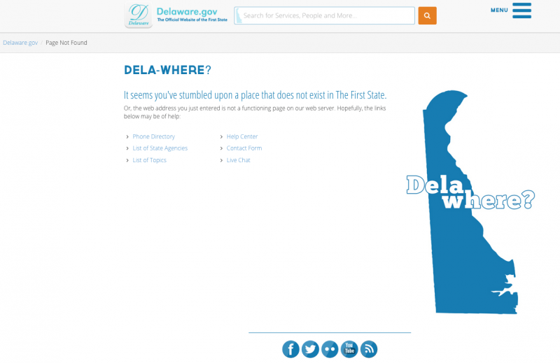 Dela-where 404 Screenshot
