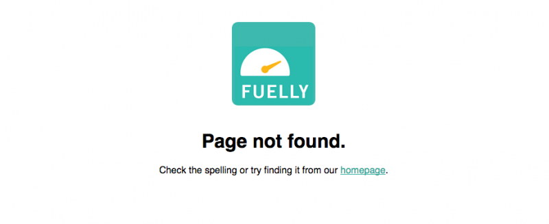 Fuelly 404 Page Screenshot