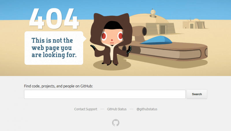 Github Search Box 404 Page Screenshot