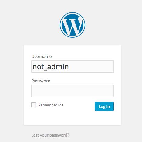 Not admin login screen