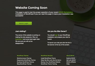 Mojo Marketplace Coming Soon Page