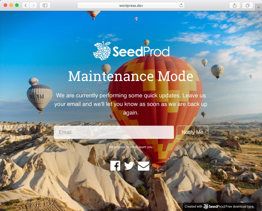 custom wordpress maintenance mode page