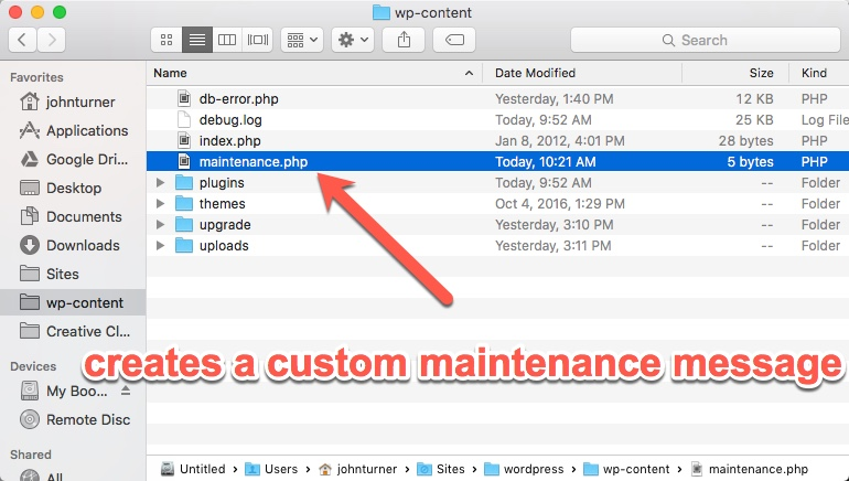 Upload a file called maitenance.php to your wp-content folder.