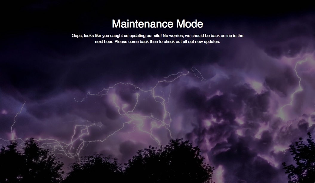 Maintenance Mode Page Example