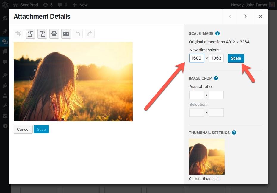 Resize Image WordPress