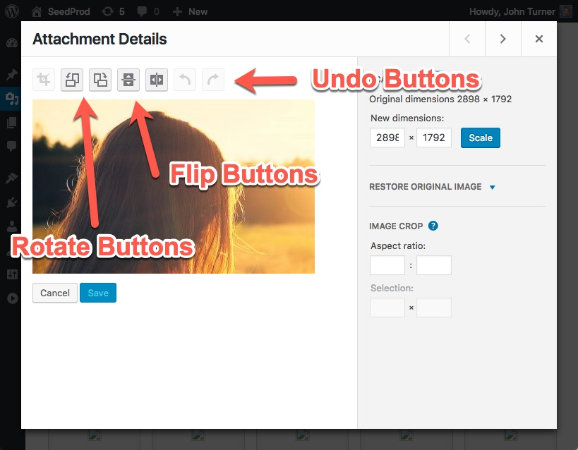 Rotate Flip Undo WordPress