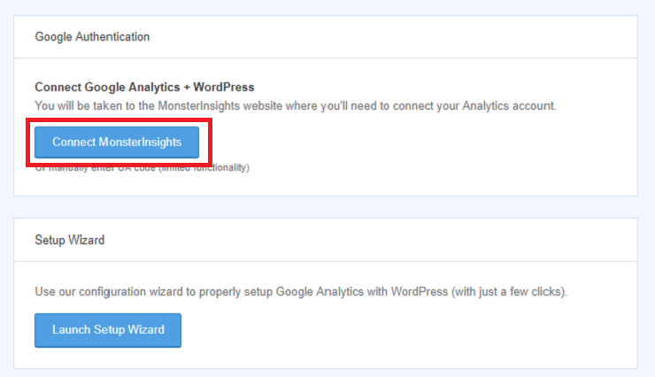 Connect MonsterInsights to install Google Analytics to WordPress