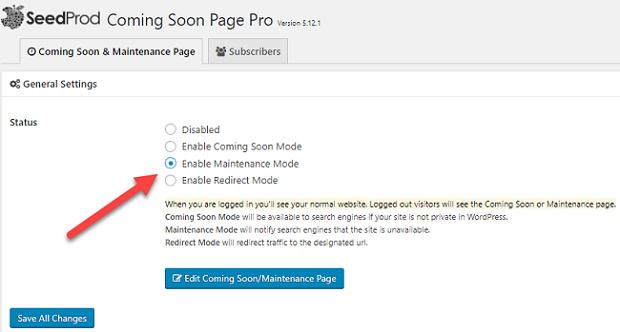click enable maintenance mode in wordpress