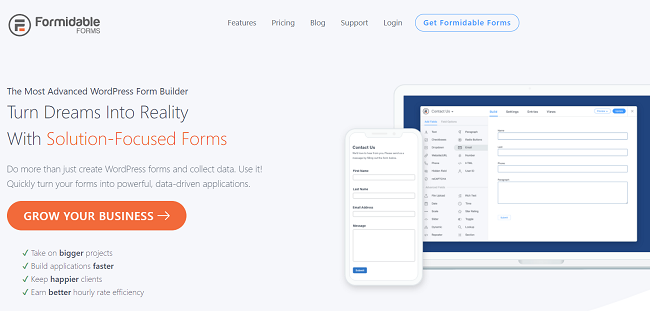 Formidable Forms is the best advanced form plugin for WordPress