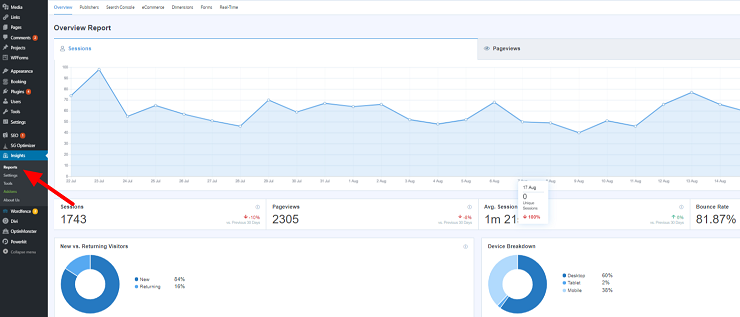 View your Google Analytics WordPress data with MonsterInsights