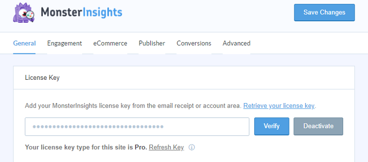 install and activate the MonsterInsights plugin and verify your license key