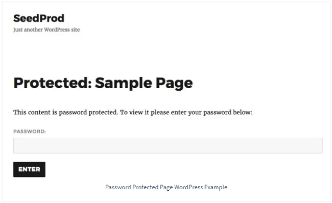 default WordPress password protected page without customizations