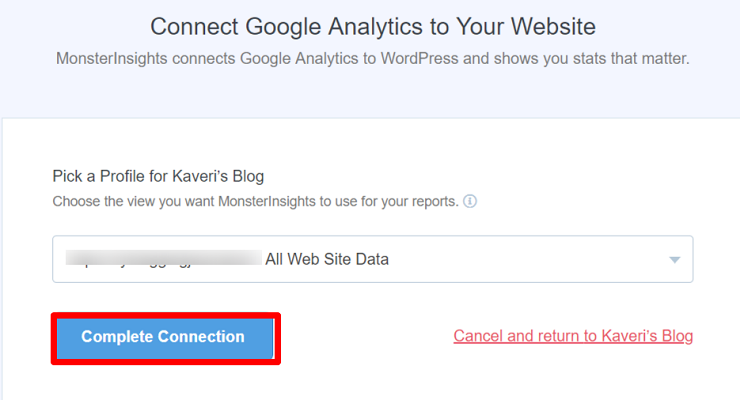 Complete the connection to add Google Analytics to WordPress