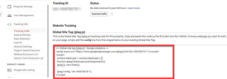 Copy the  tracking code to add Google Analytics to WordPress