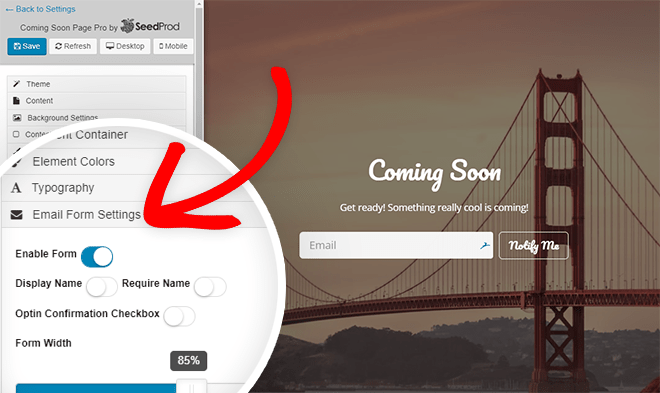 email form settings - collect emails on your under construction page