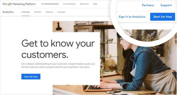 Create an account to add Google Analytics to WordPress