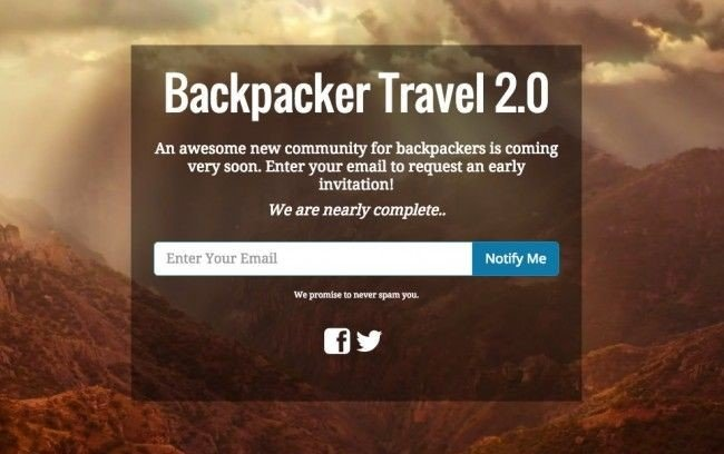 Backpacker travel  coming soon landing page example