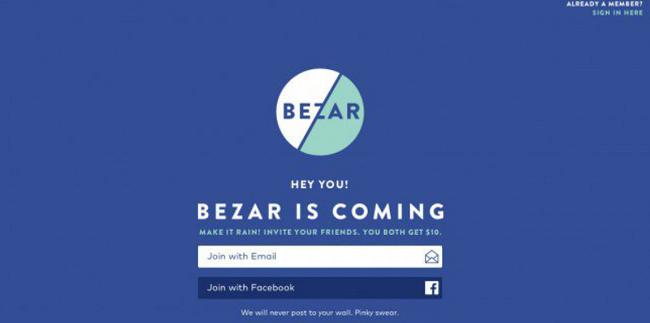 Bezar coming soon page example