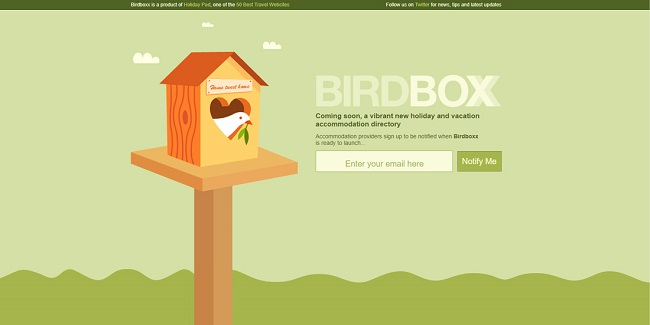 Bird Box coming soon page example