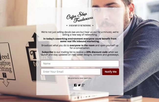Coffee Shop Freelancers coming soon page design example