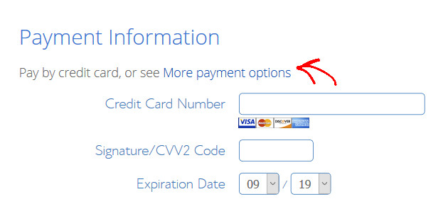 enter your payment information for your professional business mail address