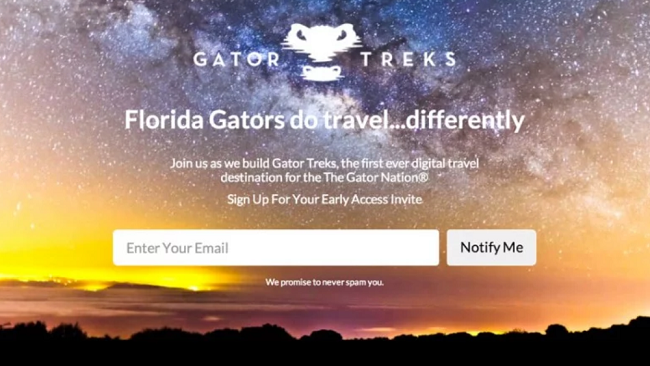 Gator Treks coming soon page example