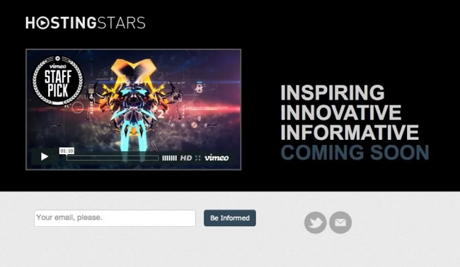 Hosting Stars coming soon page example