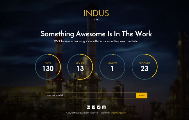 Indus coming soon page example