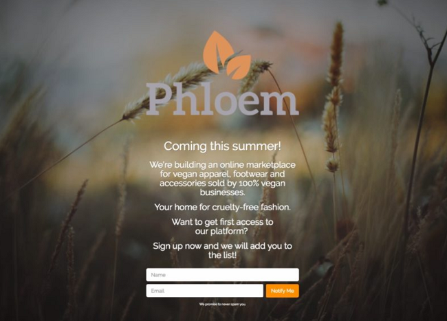 Phloem coming soon page example