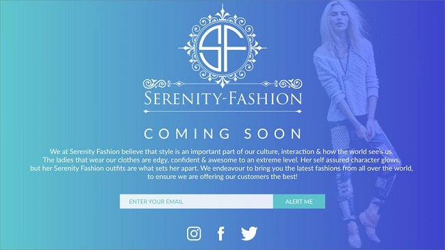 Serenity Fashion coming soon page example