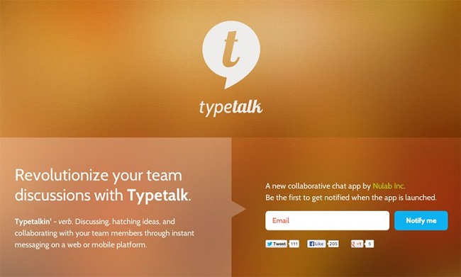 Typetalk  coming soon page example