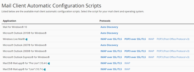 Automatic configuration scripts for your business email address