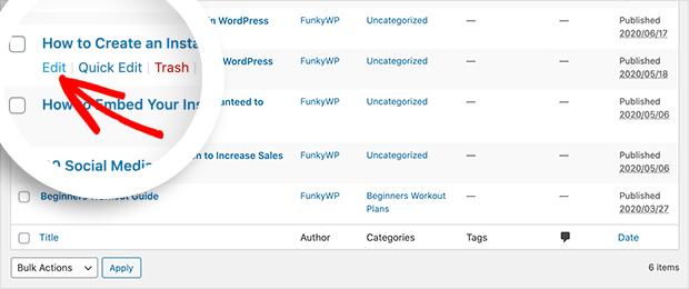 Edit a WordPress post