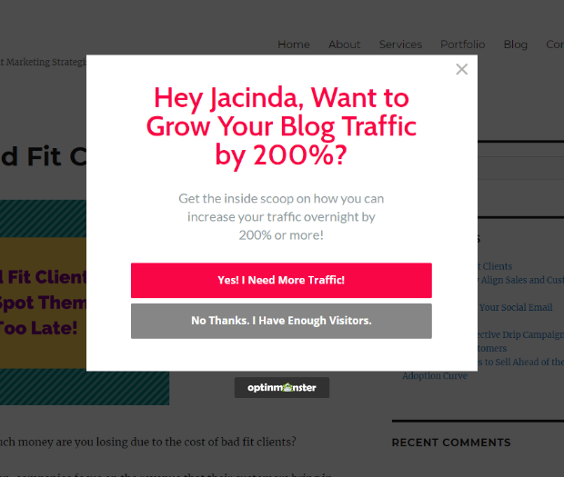 Add exit intent popups to your site to drive email signups