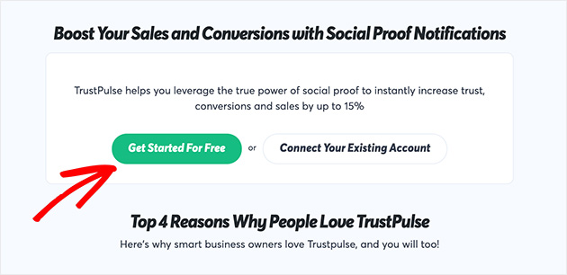 Click get started for free to create your TrustPulse account