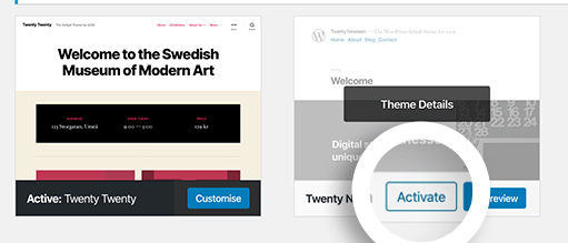 Activate your new theme in WordPress