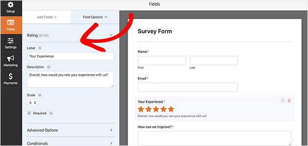 Preview of changing the rating field options in a WPForms survey form