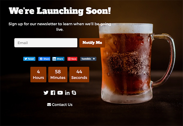 Example of a feature-rich coming soon page