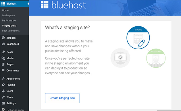 create a staging site using bluehost to test your WordPress theme
