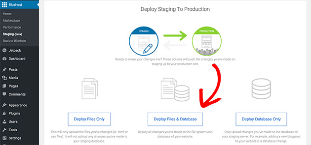 deploy files and database to your production site in bluehost