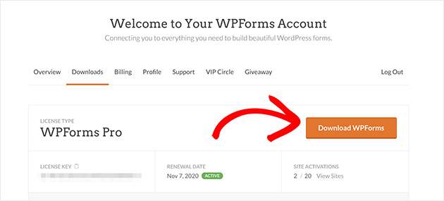 Download WPForms from your account area