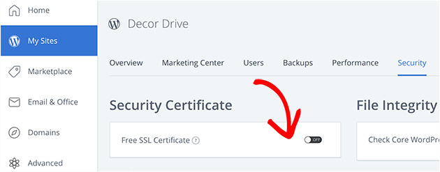 BlueHost free SSL certificate activation