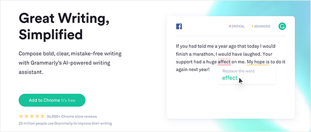 a preview of using Grammarly to check your spelling and grammar errors live in your web browser