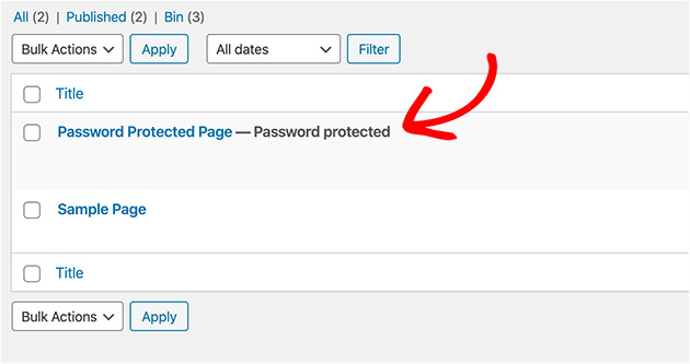 List view of a WordPress password protect page