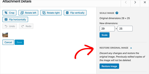 Learn how to restore the original image in WordPress